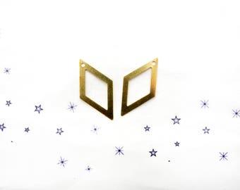 2 raw brass diamond charms