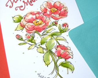 Mothers Day Card Floral - Mom Card Flowers - Custom Message Mothers Day Card - Wild Roses Card for Mom