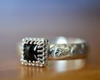 Black Onyx Ring, Geometric Square Gemstone, Renaissance Style Floral Silver Band, Unique Custom Engraved Black Stone Engagement Ring