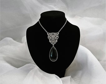 Elegant Large Real Onyx Pendant Silver Plated Filigree Necklace