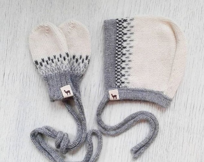 Featured listing image: Baby gift set bonnet and mittens baby girl cap boy cap ivory white gray alpaca wool baby cap knit baby bonnet baby mittens baby shower gift