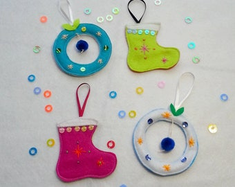 Christmas ornaments, wreaths and Christmas boots, hanging, Bohemian and colorful Christmas ornaments