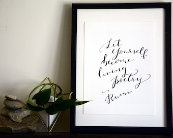 Rumi Wall Art, Rumi Quote, Custom Lettering, Scripture wall art, Lord is my Strength, Motivational Quote, Rumi Quote