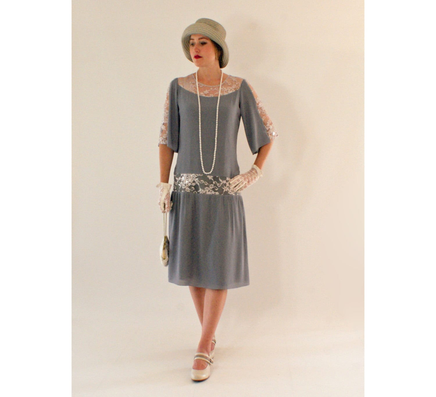 grey great gatsby dress with elbowlength sleeves 1920s