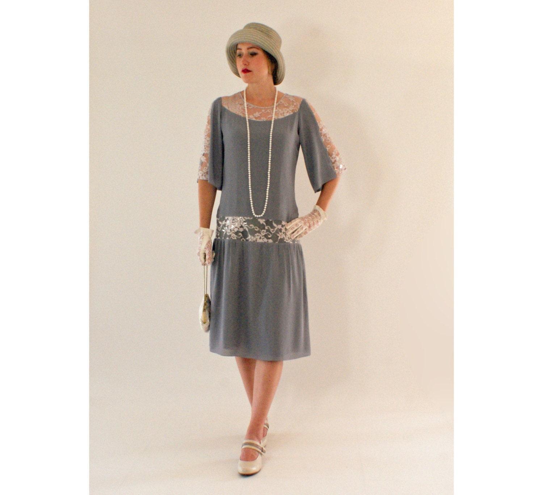 Grey Great Gatsby dress with elbow-length sleeves, 1920s dress, flapper costume, Charleston dress, Roaring 20s fashion, Downton Abbey dress