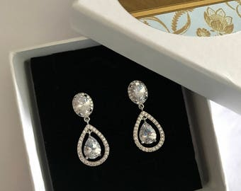 Silver Bridal Earrings, Cubic Zirconia Earrings, Teardrop Waterfall Earrings, Wedding Earrings, Bridal Accessories, Pear Crystal Earrings