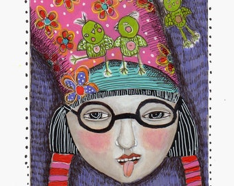 drawing illustration girl woman weird quirky funny fun colorful pinkglasses paper original modern folk art