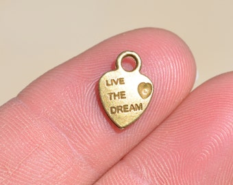 10 Antique Bronze Live the Dream Heart  Charms BC1749