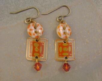 Orange Crush - Vintage Orange Tins Stencil Buttons Swarovski Crystals Recycled Repurposed Jewelry Earrings - Ten Year Anniversary Gift