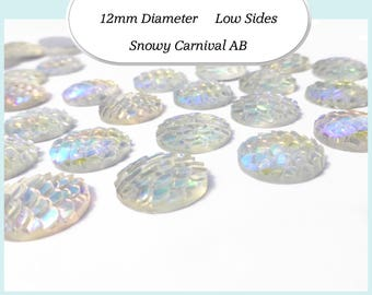 10 x 12mm Snowy Carnival AB Mermaid Fish Scale Cabochons - Australia