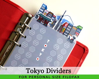 Personal Size Cute Kawaii Tokyo DIY Dividers 5 Top Tabs for Filofax Organizer Planner Printable PDF Instant Download