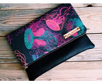 Jellyfish  Fold Over Clutch with Turquoise Suede Leather Bottom