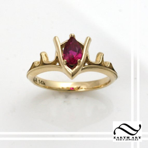 Très Goron's Ruby Legend of Zelda Geeky Engagement Ring 14k HH89