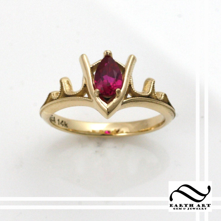 Well known Goron's Ruby Legend of Zelda Geeky Engagement Ring 14k VA59