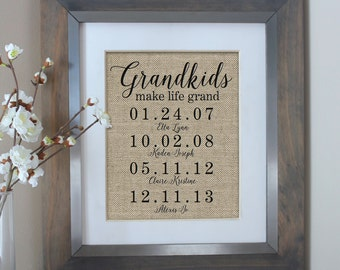 Mothers Day Gift for Grandma | Grandkids Make Life Grand Sign | Grandparent Gifts | Grandkids Sign | Birthday Gift for Her | Grandkids Names