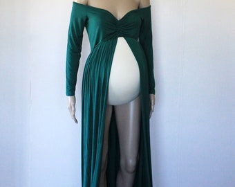 Long Sleeve Off Shoulder Jersey Maternity Gown - Forest Green