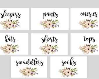 Printable Bohemian Baby Nursery Drawer Labels- print yourself- Baby Girl, Nursery Decor, Nursery Organization