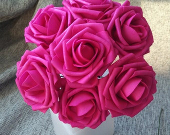 Hot Pink Wedding Flowers Dark Pink Fuschia Rose Foam Flowers 100 Stems  For Bridal Bouquets Wedding Party Decor Table Centerpiece LNRS002