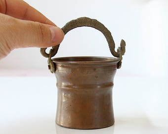 Vintage miniature copper bucket Turkish copper basket pot Dollhouse kitchen Collectible Country Rustic dollhouse accessory
