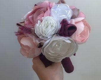 Bridesmaid Bouquet, Brooch Bouquet, Bridesquad, Alternative Bouquet, Fabric Bouquet, Peony Wedding Bouquet, Marsala, Pink and Ivory Wedding