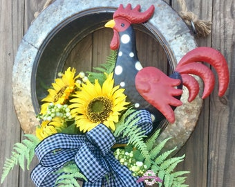 Sunflower Rooster Wreath, Rooster Wreaths, Sunflower Wreaths, Sunflower Front Door Wreaths, Rooster Door Wreath, Wreaths, Everyday Wreaths