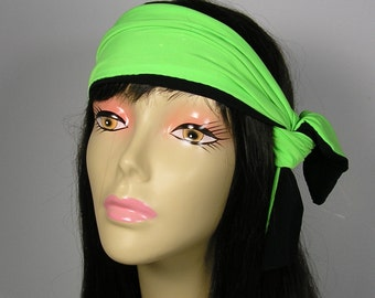 Neon Green and Black Reversible Hair Scarf Athletic Headbands Athletic Hair Scarf Tennis Hair Scarf Lycra Headbands Reversible Neck Scarves