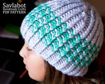 beanie pattern - knitting pattern - stripes - striped beanie - knit pdf beanie pattern no.001