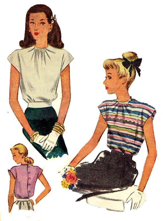 Vintage 1940s McCall 6453 Swing Era WW11 Womens Cap Sleeve Blouse Or ...