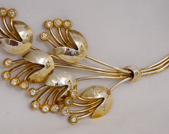 Vintage Marked Sterling Flower Brooch, gold wash over sterling with tiny diamond looking stones at tips
