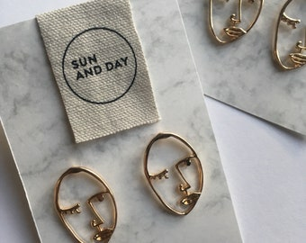 Picasso Face Gold earrings | Costume Jewellery | Minimalism | Fine Jewellery