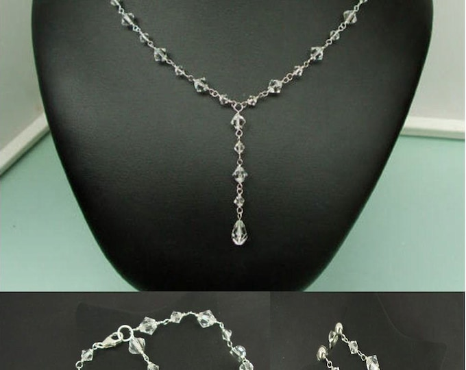 84292471ca Swarovski crystal wedding jewelry set Sterling Silver AB or clear crystal  drop necklace bracelet and earrings