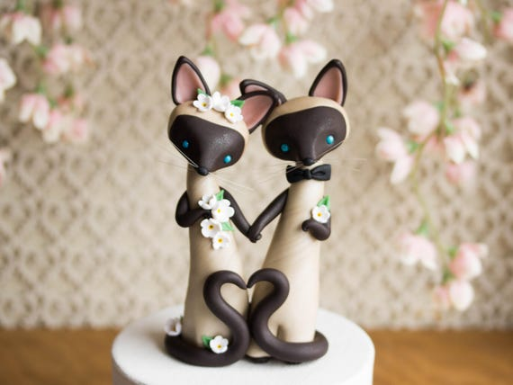 Siamese Cat Wedding Cake Topper by Bonjour Poupette