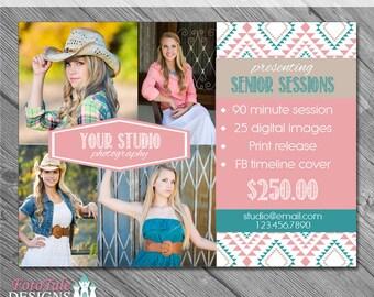 INSTANT DOWNLOAD - Aztec Summer Marketing Board 3- custom 5x7 photo template