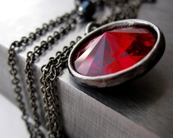 Blood Red Crystal Necklace, Dark Red Rivoli Crystal Pendant Necklace, Red Black Gunmetal Goth Gothic Jewelry, Valentines Gift for Her 1122