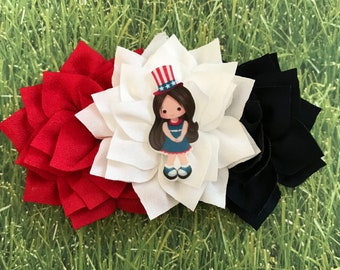 Red, White and Blue Flowers with a independence little girl embellishment