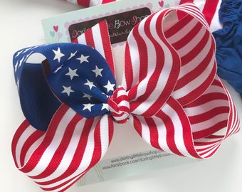 """Patriotic Hairbow - Stars and Stripes - July 4th hairbow, red and white stripes with royal blue star ribbon -- choose 4-5"""" or 6-7"""""""