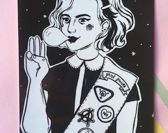 Grrl Scout feminist everyday postcard