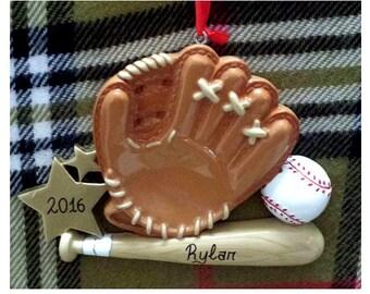 Personalized Christmas Ornament Baseball Glove/Mitt, Bat - Baseball Player/Baseball Team Gifts/Ornaments