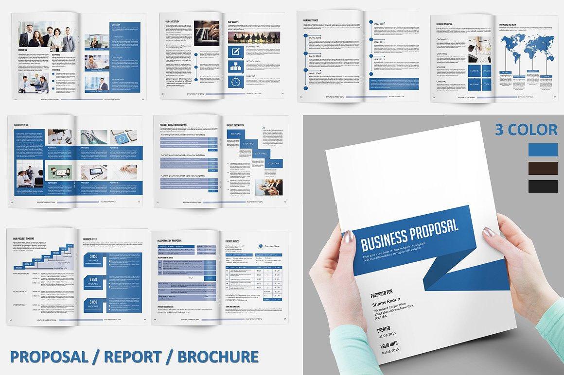 Business-Vorschlag-Vorlage Projekt Vorschlag 3 Farben