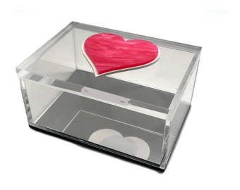 Pink Heart Acrylic Lucite Box