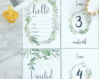 Printable Baby Milestone Cards | Set of 38 | Wreath Greenery | Handpainted | Watercolour | Photo Prop | Milestone | Baby | Baby Gift
