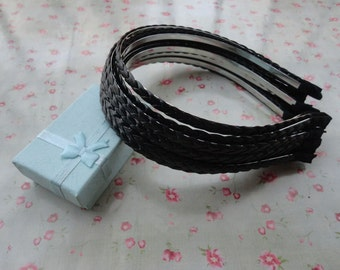 10pcs-8mm metal headbands covered by Black woven leather  with bent end--H3078-10