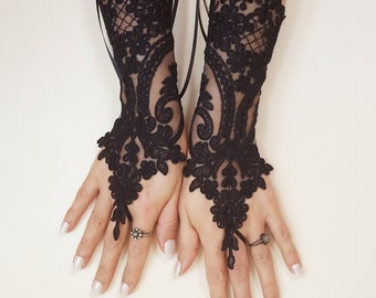 Black lace gloves french lace bridal gloves, ''High Quality Lace Gloves'' fingerless gloves black gloves burlesque glove guantes