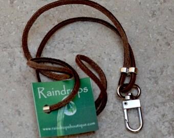 Men's ID Lanyard Holder.  Name Badge Holder.  Suede Badge Lanyard. Brown Leather ID Holder.