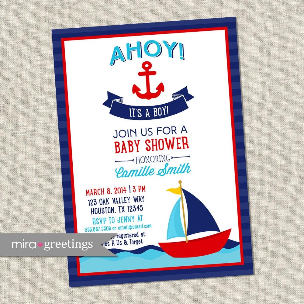 Ahoy It\'s a Boy Baby Shower Invitation - Nautical Boy Shower Invite ...