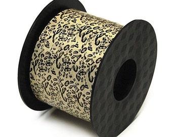 "20YDS Leopard Spots Animal Print Ivory Tan Black CURLING Ribbon 1/4"""