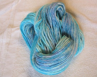 100% Alpaca -Gradient Yarn Cake Hand Dyed - Turquoise and Pink - 3 Ply DK Weight Yarn - 250 Yds - 12-14 WPI