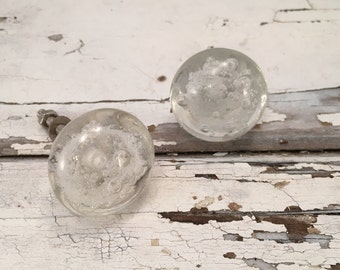 Clear Bubble Tomato Knobs, Decorative Bubbled Clear Glass Pull, Knob, Cabinet Drawer Pulls, Cabinets Supply, Item #511812899