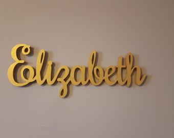 Gold Baby Name Sign, Wooden Nursery Letters, Wood Name Sign