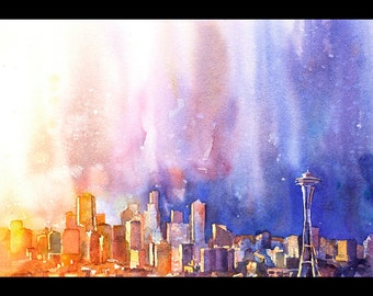 Seattle, Washington skyline w/ Space Needle at sunset.  Seattle artwork.  Watercolor painting Seattle.  Seattle fine art print watercolor